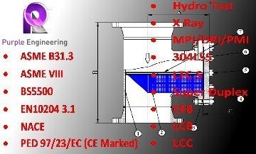 ASME B31.3 Strainers, ASME VIII Strainer au, EN10204 3.1 T Strainer au, NACE Strainer, PED Strainer, PED 97/23/EC Strainer, Super Duplex Strainer, super duplex t strainer, 304lss strainer, LTC.S Strainer, CF8 Strainer, LCB strainer, LCC Strainer